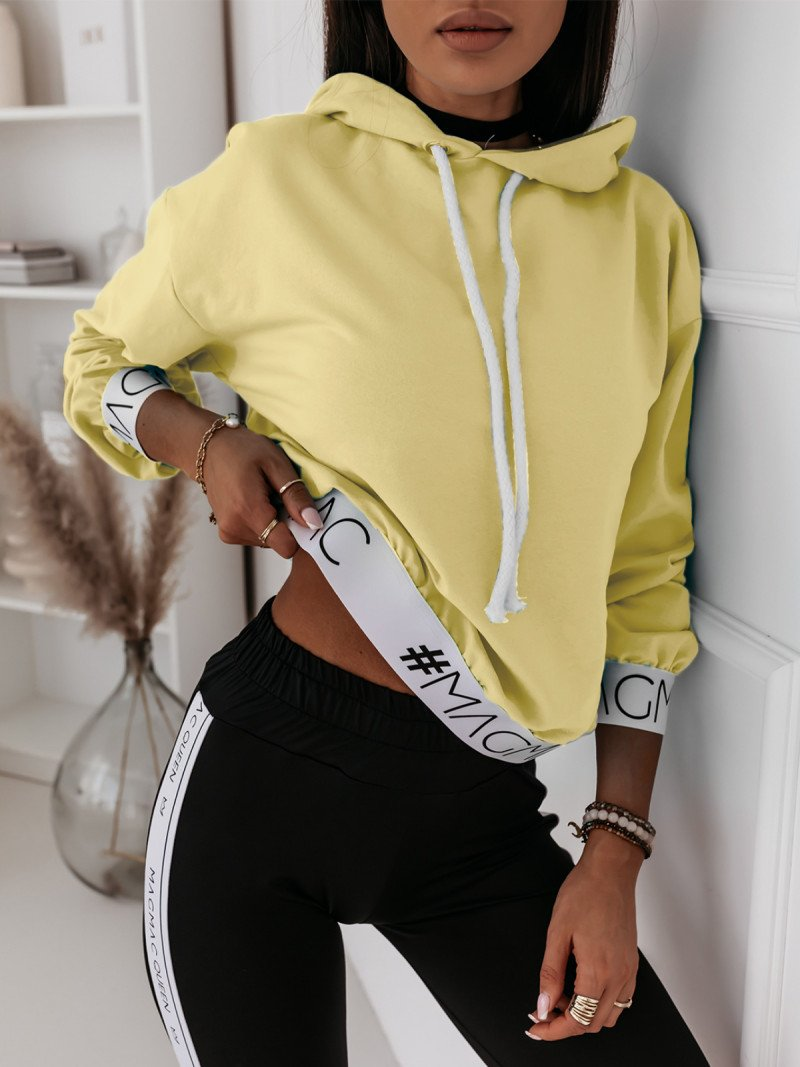 Bluza z kapturem i gumą NINA - cytrynowa