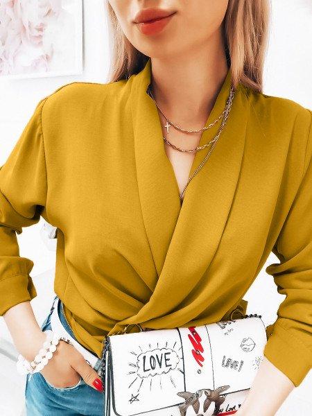 Przekładana bluzka koszulowa - FLAVIA - musztardowa