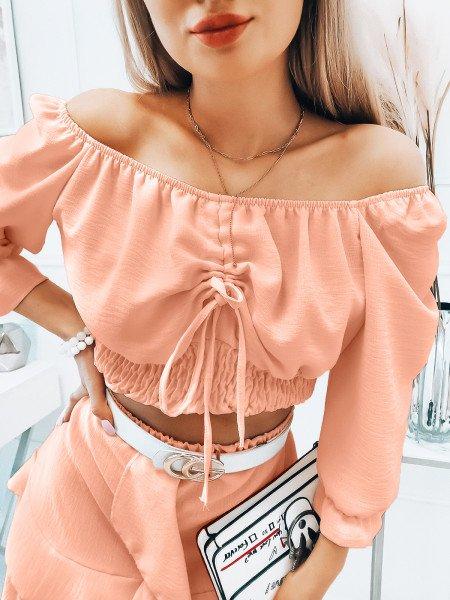 Komplet bluzka hiszpanka i spódnica - SAMBA - pudrowy róż