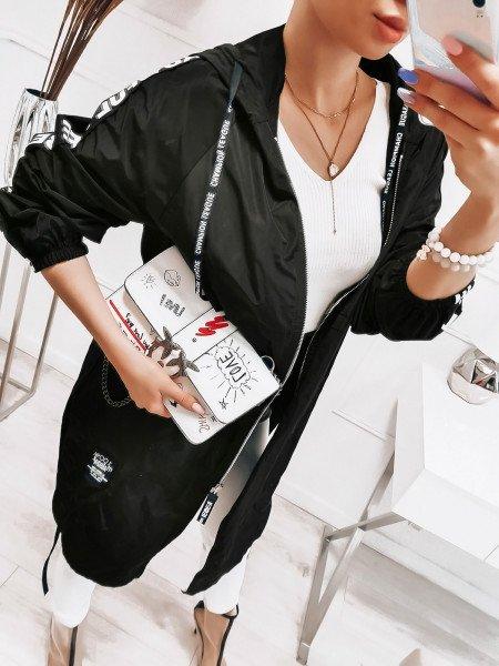 Oversizowy płaszcz z lampasami - TULIA - czarny