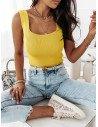 Prążkowany top bluzka z dżetami MIAMI - cytrynowy