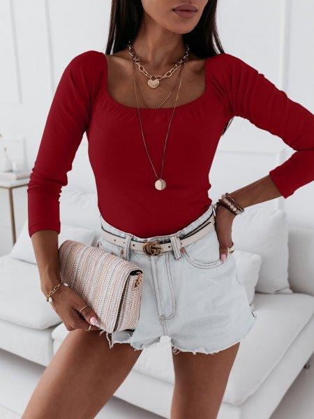 Gładka bluzka hiszpanka INES - czerwona