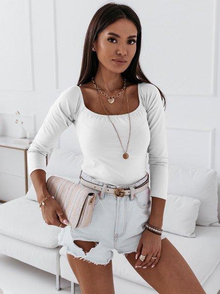 Gładka bluzka hiszpanka INES - biała