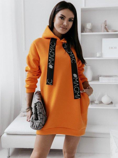 Dresowa sukienka z kieszenią ALVES - neon orange