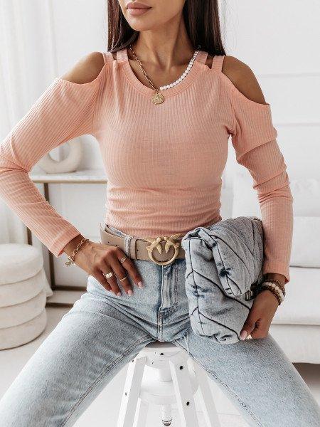 Prążkowana bluzka z wycięciami SUGARY - brzoskwiniowa