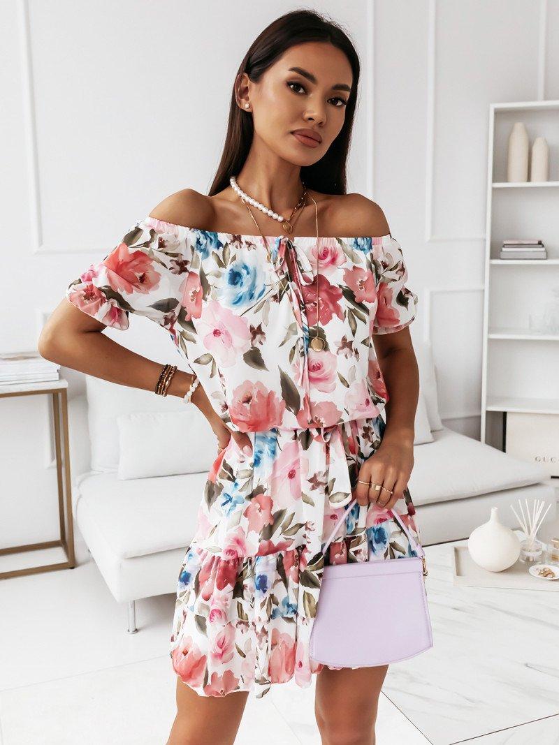 Rozkloszowana sukienka w kwiaty -...