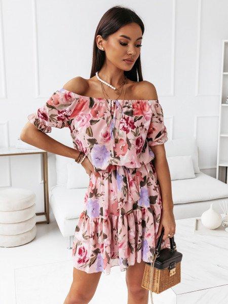 Rozkloszowana sukienka w kwiaty - LORIDANA - różowa