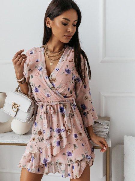 Szyfonowa sukienka w kwiatowy print LOUISE - wzór 3
