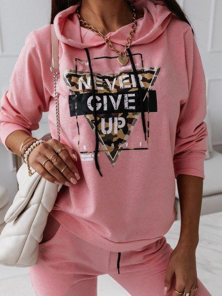 Komplet dresowy spodnie + bluza - NEVER - pudrowy róż