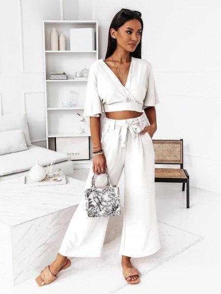 Komplet crop top ze spodniami - Konstancja - biały
