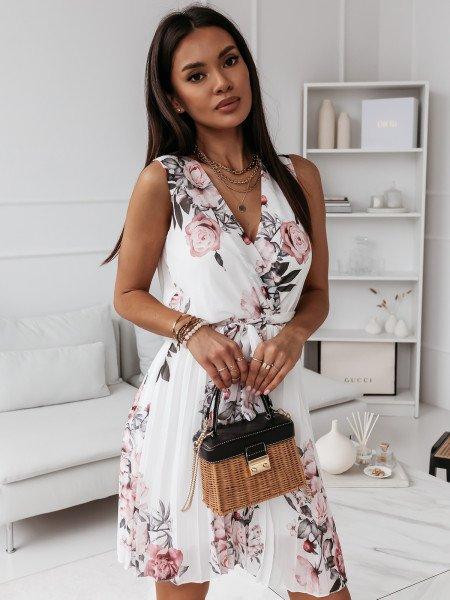 Szyfonowa plisowana sukienka print CLASSY - biała