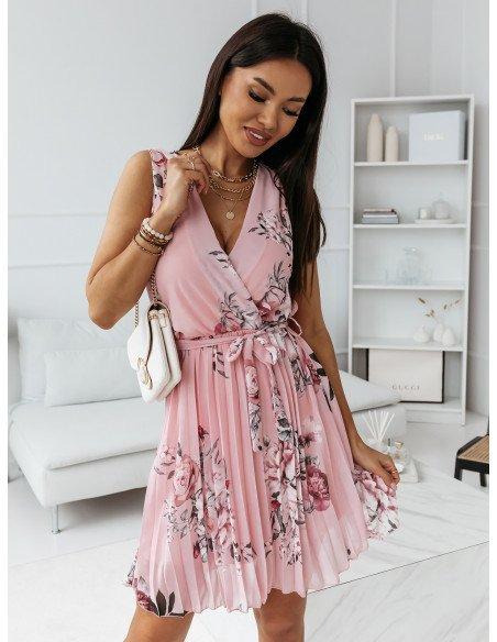 Szyfonowa plisowana sukienka print CLASSY - pudrowy róż
