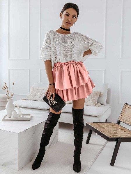 Kobieca mini spódnica z falbanką FRILL - pudrowy róż