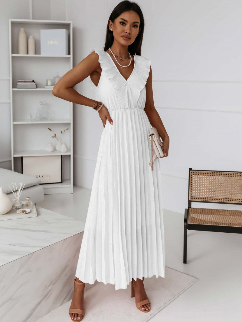 Plisowana sukienka z falbaną TETERIS...