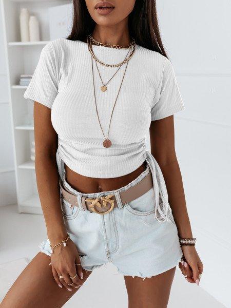 Prążkowana bluzka z marszczonymi bokami ALLURE - biała