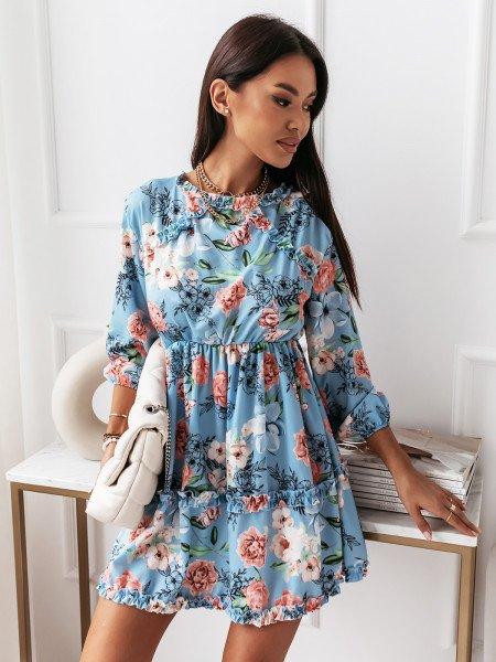 Sukienka z odkrytymi plecami -RUBI - błękitna