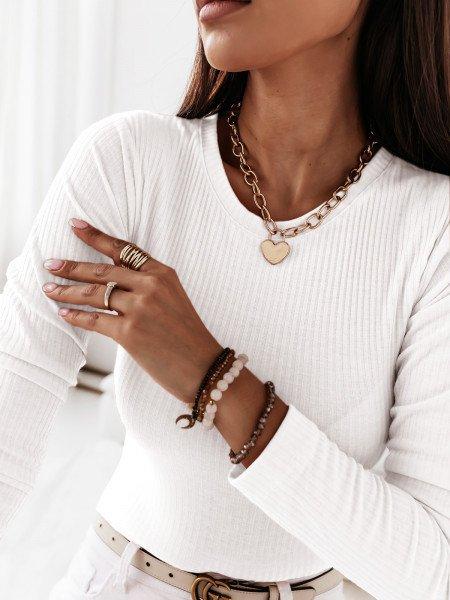 Prążkowana klasyczna bluzka ROSALIE - biel