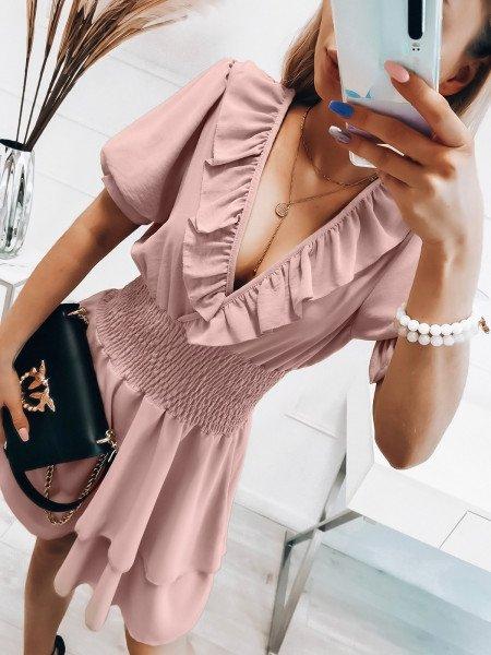 Rozkloszowana sukienka z falbanką - MISTY - pudrowy róż