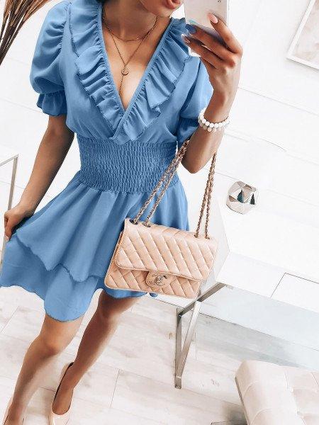 Rozkloszowana sukienka z falbanką - MISTY - błękitna