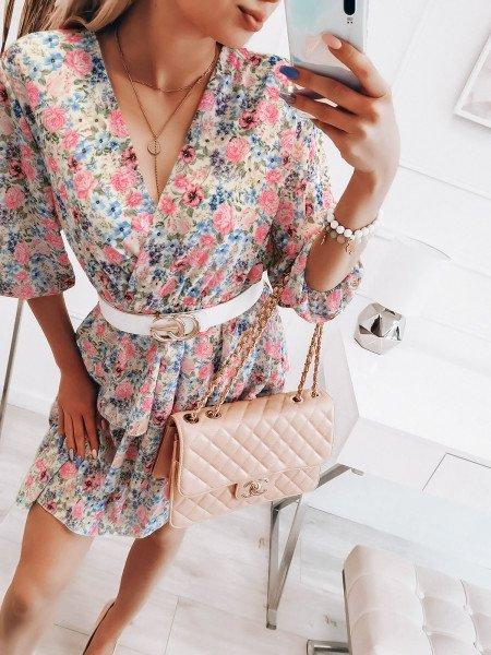 Szyfonowa sukienka z falbanami - BRENDA - biała