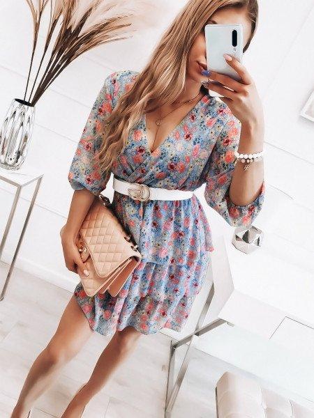 Szyfonowa sukienka z falbanami - BRENDA - błękitna