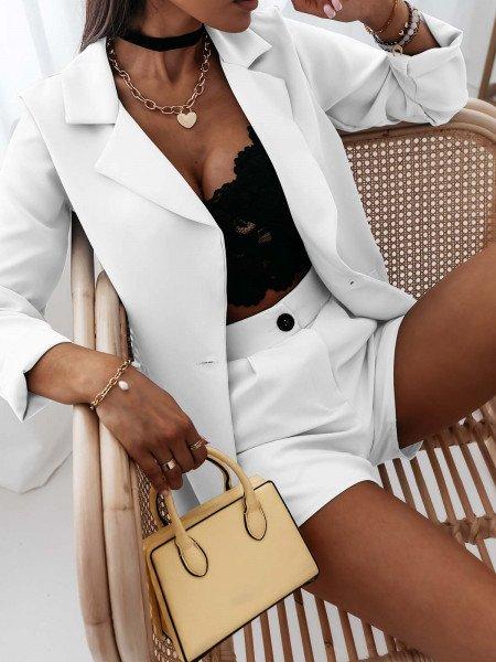 Komplet garnitur marynarka i spodnie - ARNIKA - biały