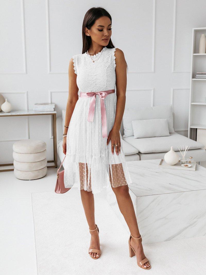 Sukienka z koronkową górą i tiulowym...