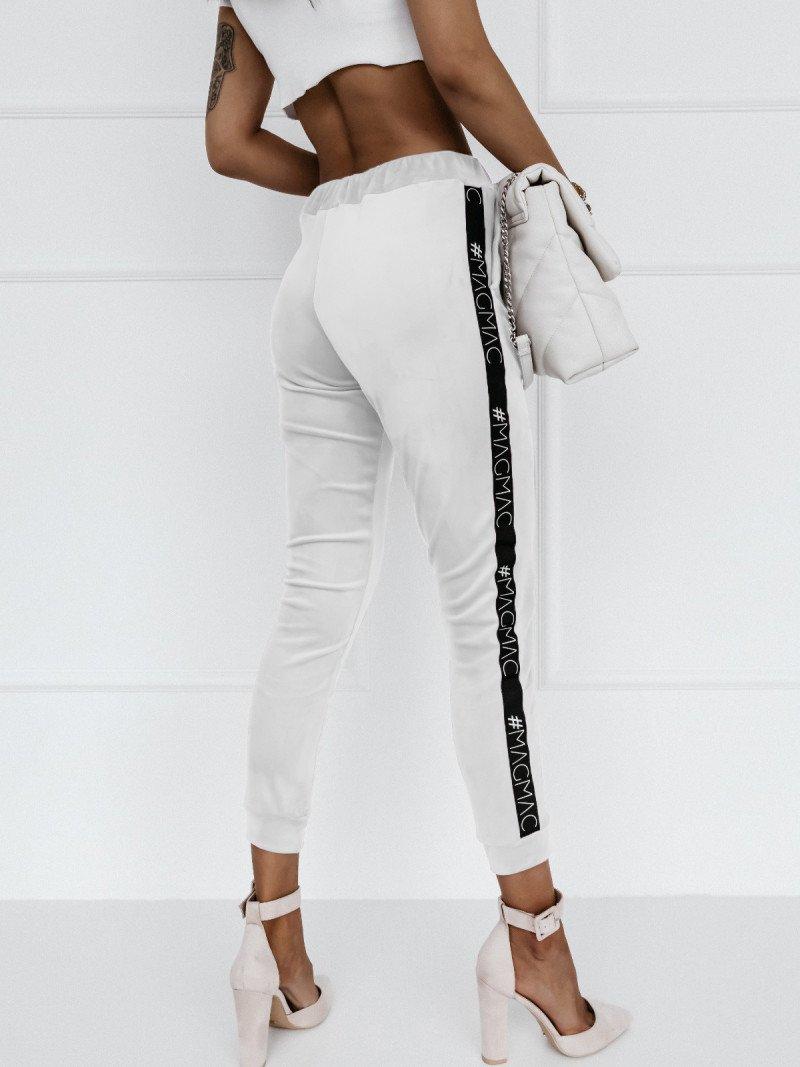 Welurowe spodnie dresowe Alessia - białe