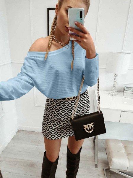 Prążkowana bluzka oversize MEGGY - błękitna