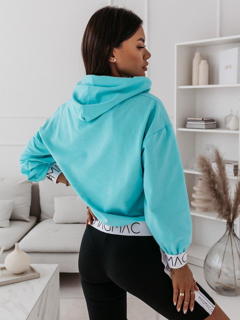 Bluza z kapturem i gumą NINA - błękitna