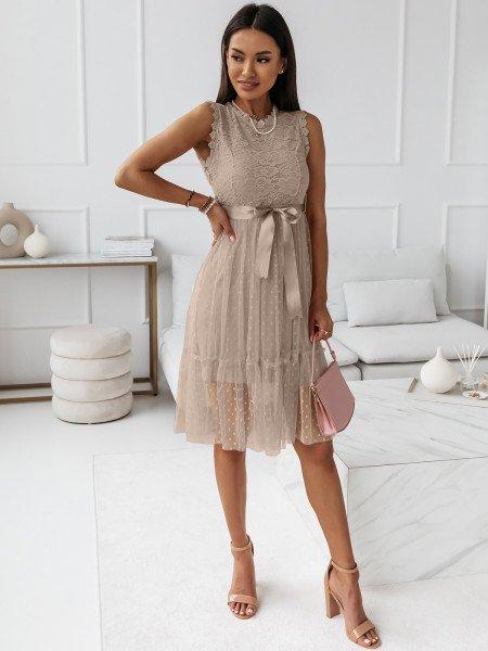 Sukienka z koronkową górą i tiulowym dołem BELOVED - beżowa