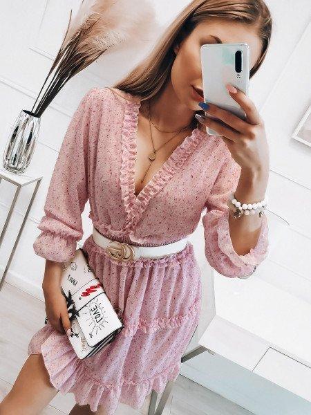 Szyfonowa sukienka z falbanami - DOTI - pudrowy róż