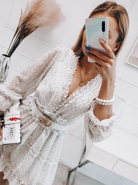 Szyfonowa sukienka z falbanami - DOTI - biała