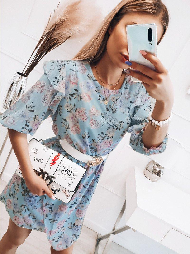 Sukienka w kwiaty ESMERALDA - błękitna