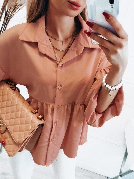 Oversizowa koszula MAKSI - brzoskwiniowa
