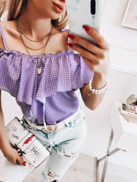 Bluzka hiszpanka VERDA - liliowa