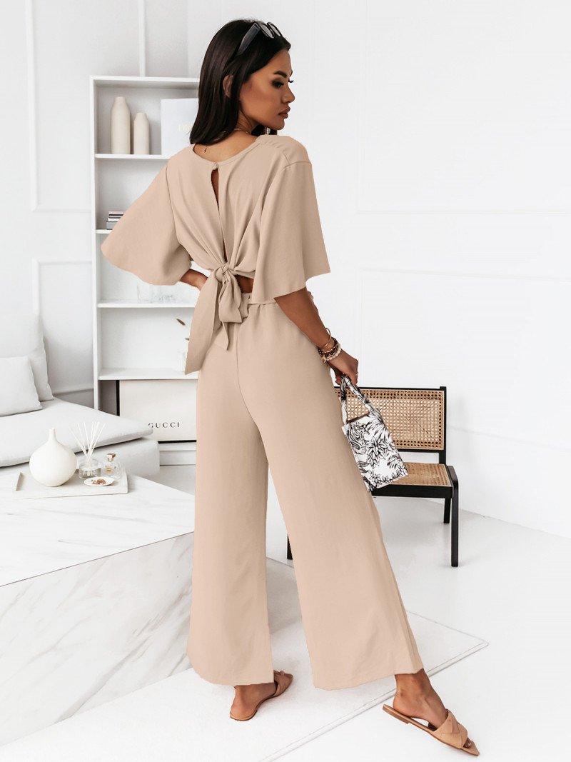Komplet crop top ze spodniami -...