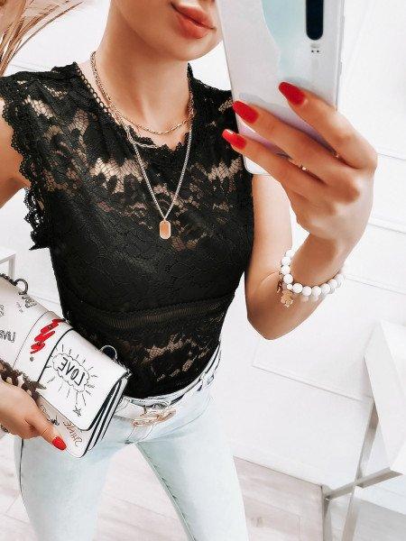 Koronkowy top bluzka - PRIJA - czarny