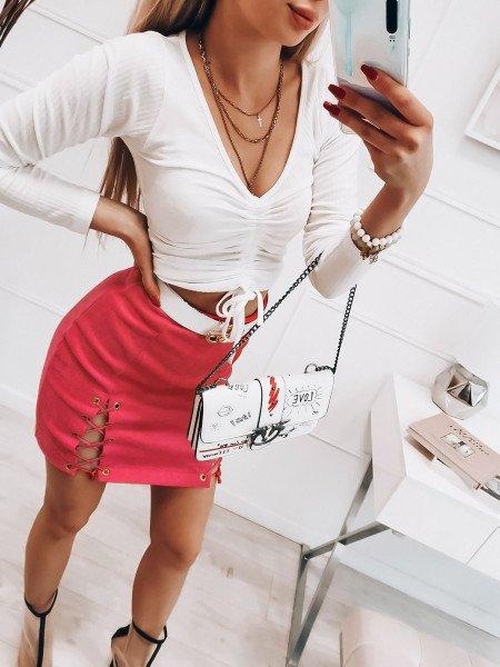 Zamszowa spódnica mini z wiązaniem - ADERI - różowa