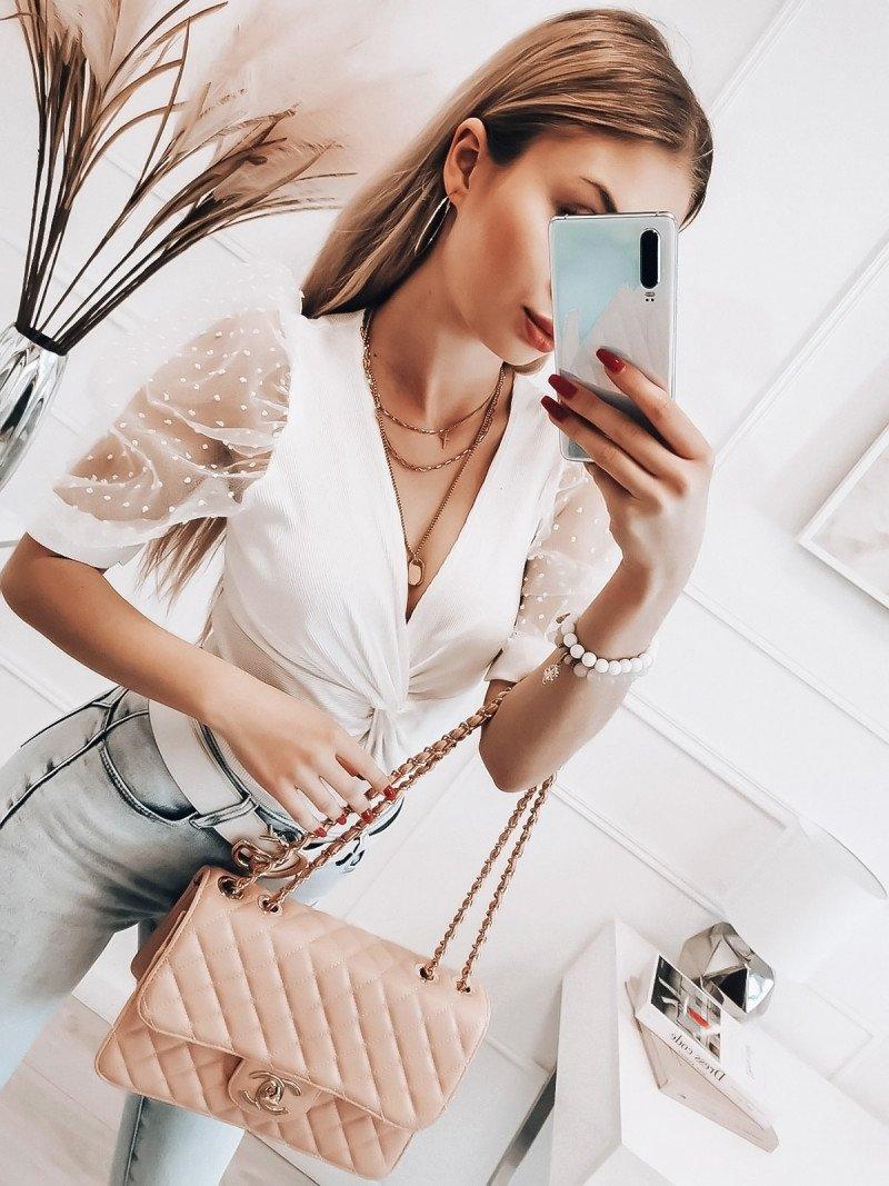 Bluzka z tiulowymi rękawami - ALMERA - biała