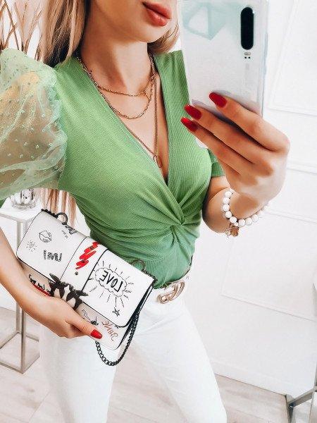 Bluzka z tiulowymi rękawami - ALMERA - miętowa