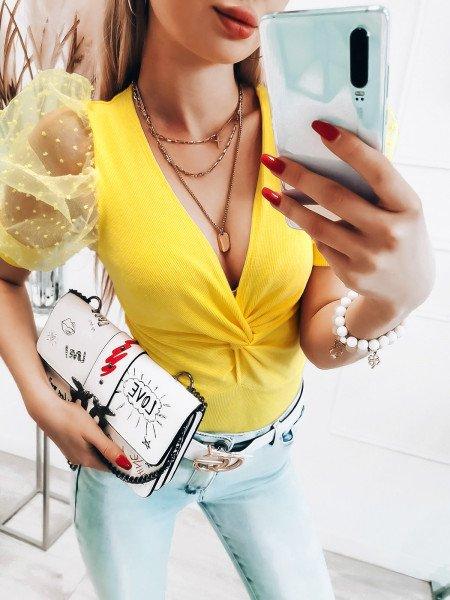 Bluzka z tiulowymi rękawami - ALMERA - cytrynowa