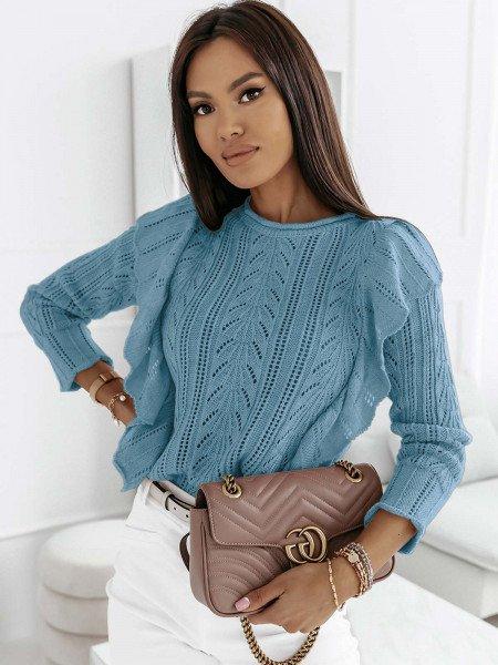 Ażurowy sweter z falbanami PENELOPE - błękitny