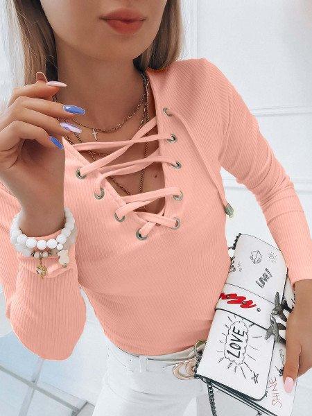 Prążkowana bluzka z wiązanym dekoltem ERINA - brzoskwiniowa