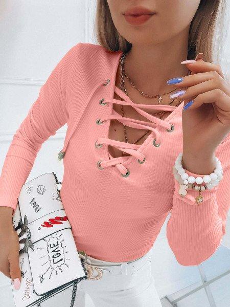 Prążkowana bluzka z wiązanym dekoltem ERINA - pudrowy róż