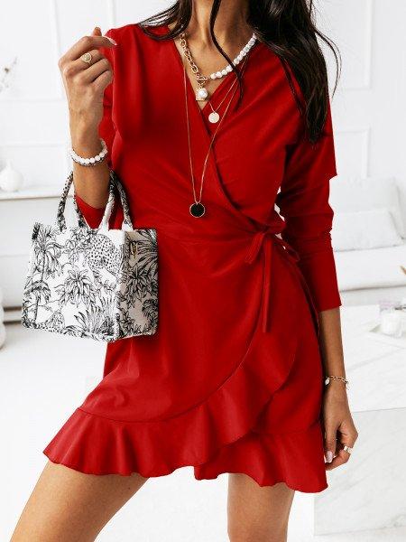 Przekładana sukienka z falbaną SARITTA - czarwona