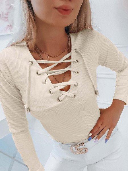 Prążkowana bluzka z wiązanym dekoltem ERINA - ecru