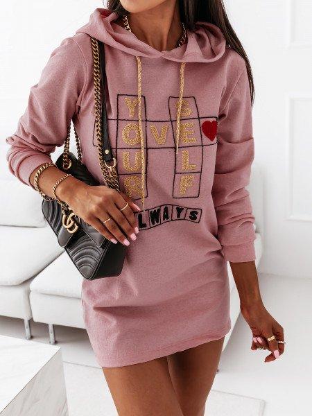 Sukienka tunika dresowa z kapturem - LOTTA - brudny róż