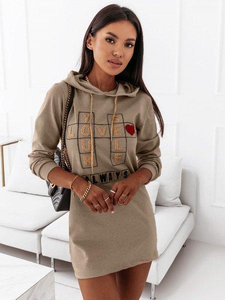 Sukienka tunika dresowa z kapturem - LOTTA - beżowa