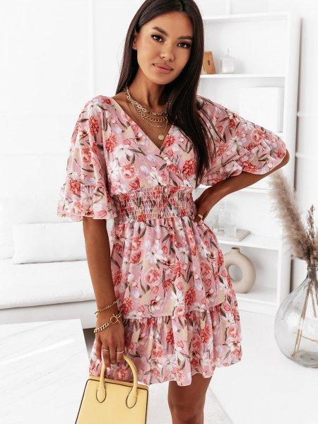 Sukienka z dekoltem na plecach - MALIJA - pudrowy róż